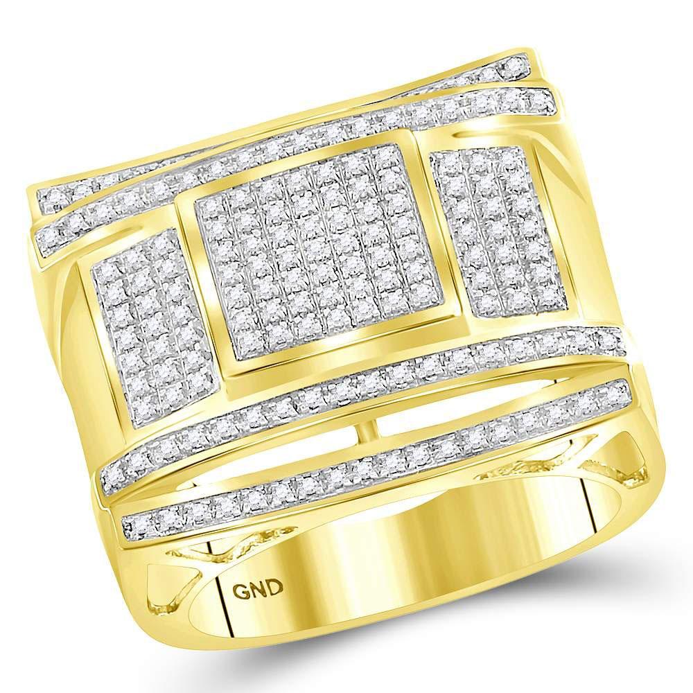 0.49 CTW Diamond Cluster Ring 10K Yellow Gold - REF-76F3N