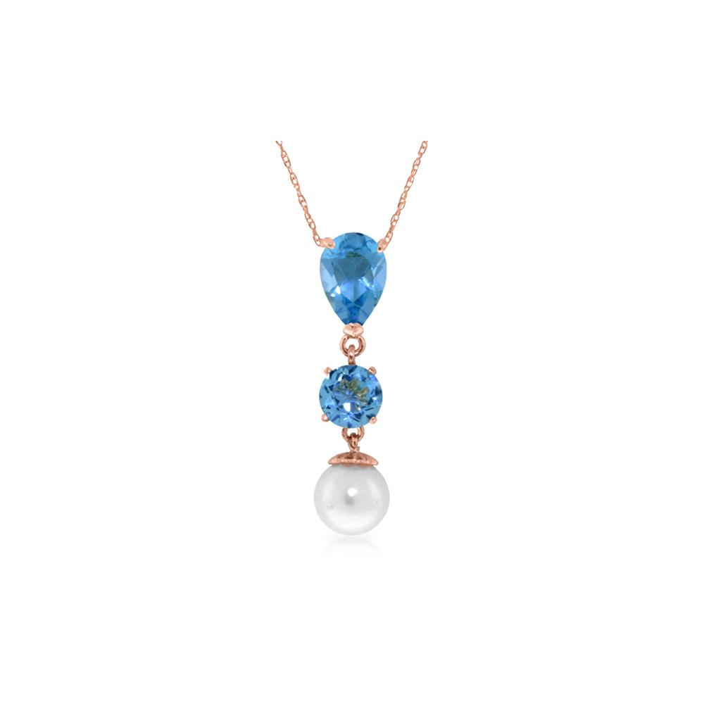 Genuine 5.25 ctw Blue Topaz & Pearl Necklace 14KT Rose Gold - REF-25T9A
