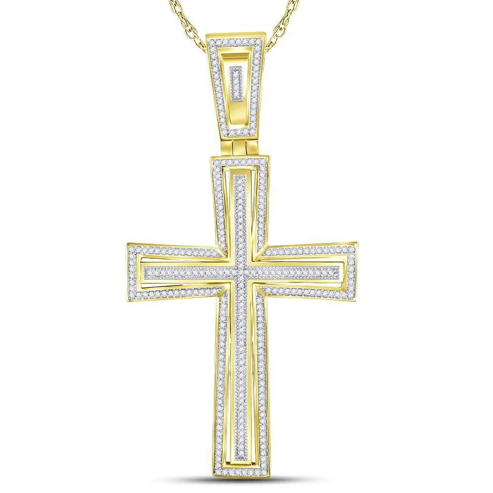 0.75 CTW Diamond Cross Pendant 10K Yellow Gold - REF-96Y2X