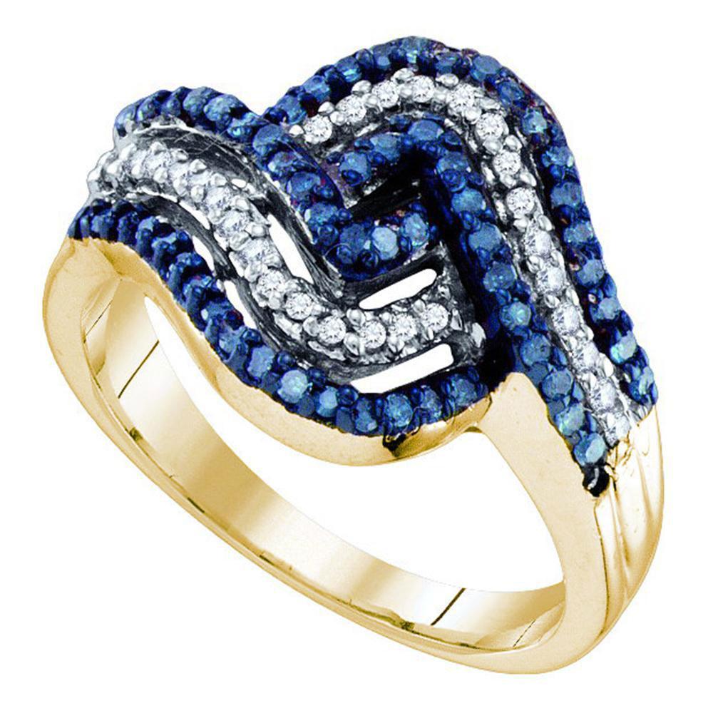 0.50 TCW Blue Diamond & White Diamond Ring 10K Yellow Gold - REF-40Y3X