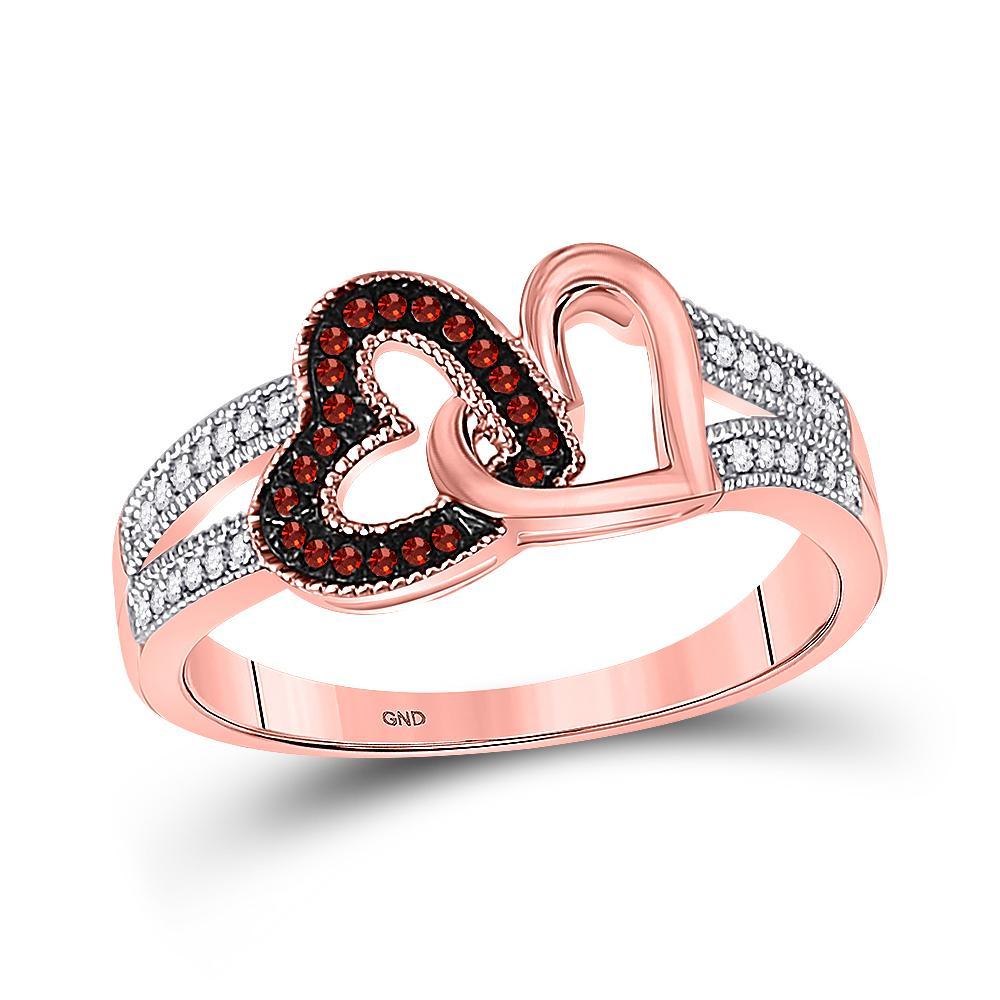 0.15 TCW Red Diamond & White Diamond Heart Ring 10K Rose Gold - REF-24H2M