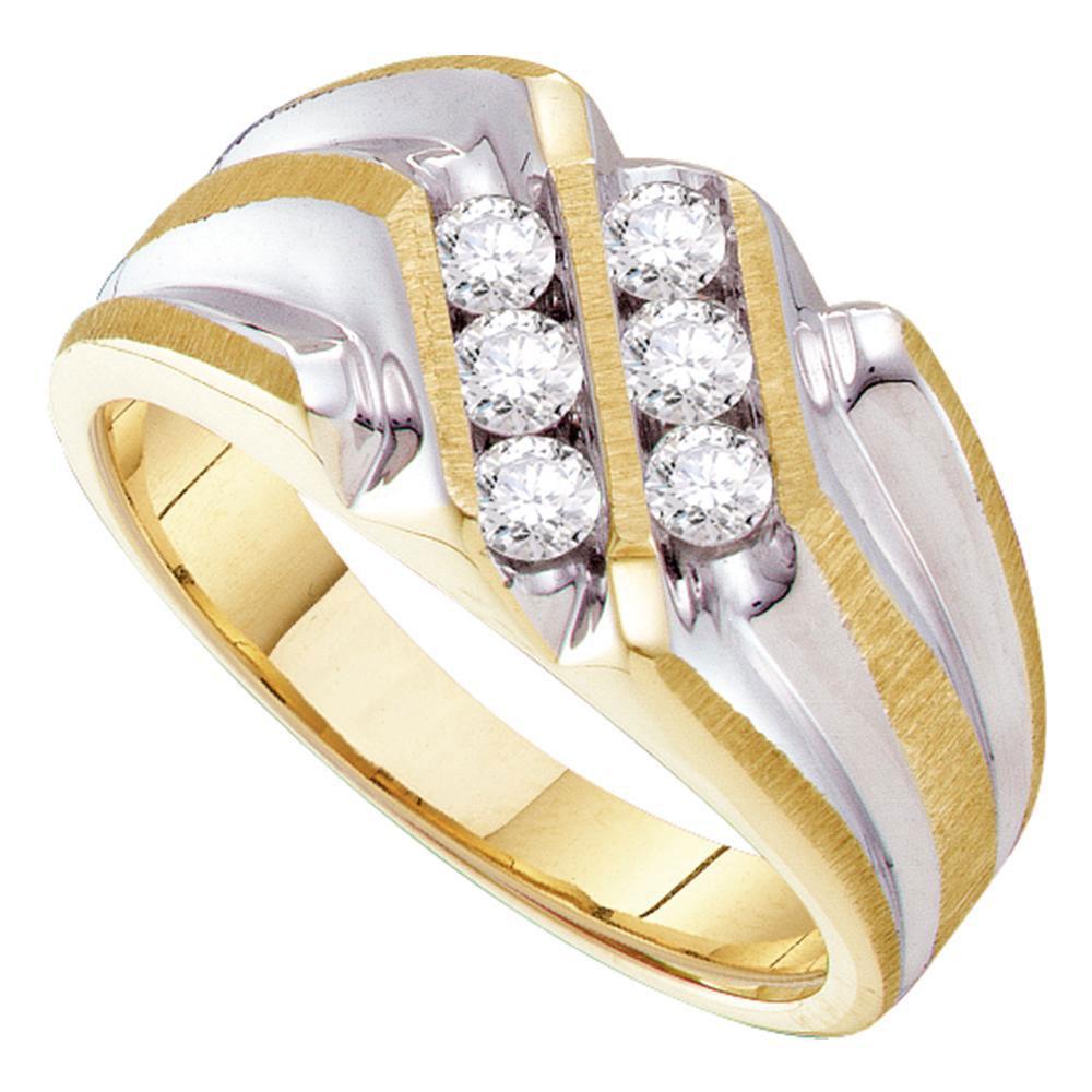 0.53 CTW Diamond Ridged Ring 10K Yellow Gold - REF-61Y2X