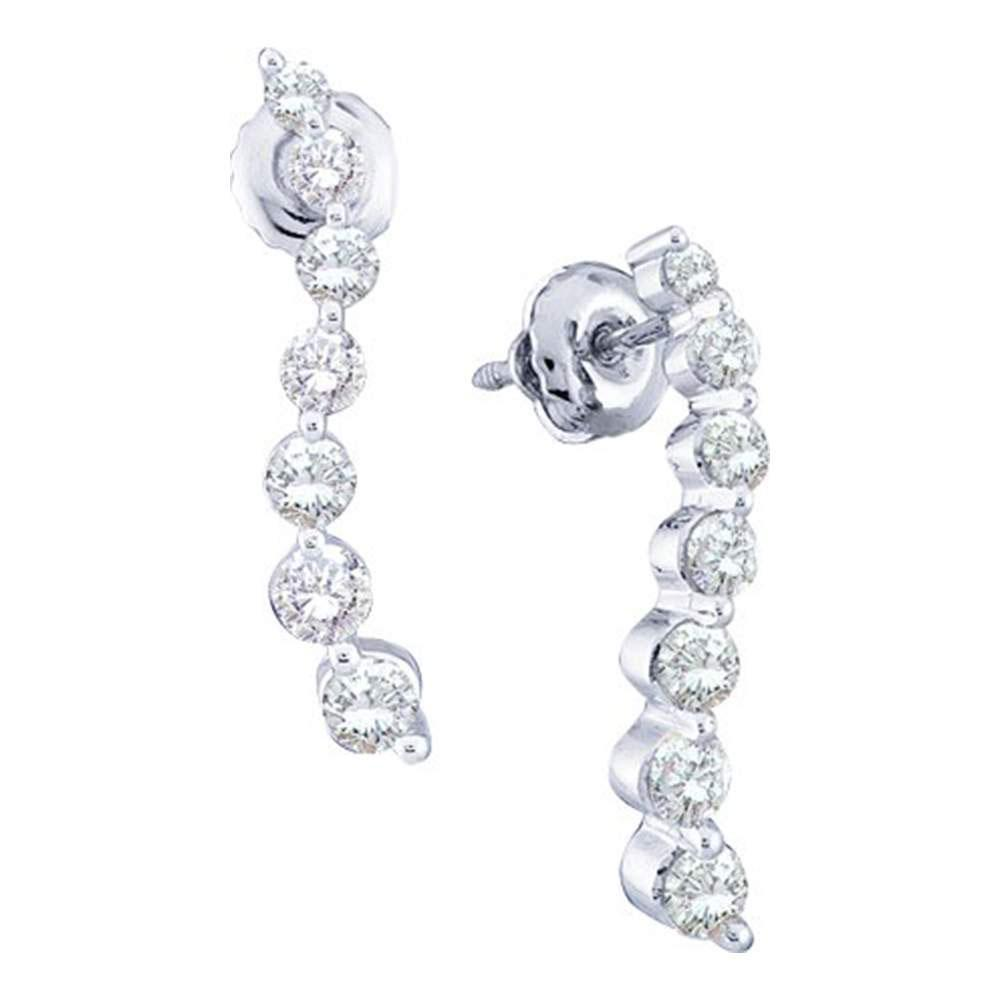 1 CTW Diamond Journey Earrings 14K White Gold - REF-96H2M