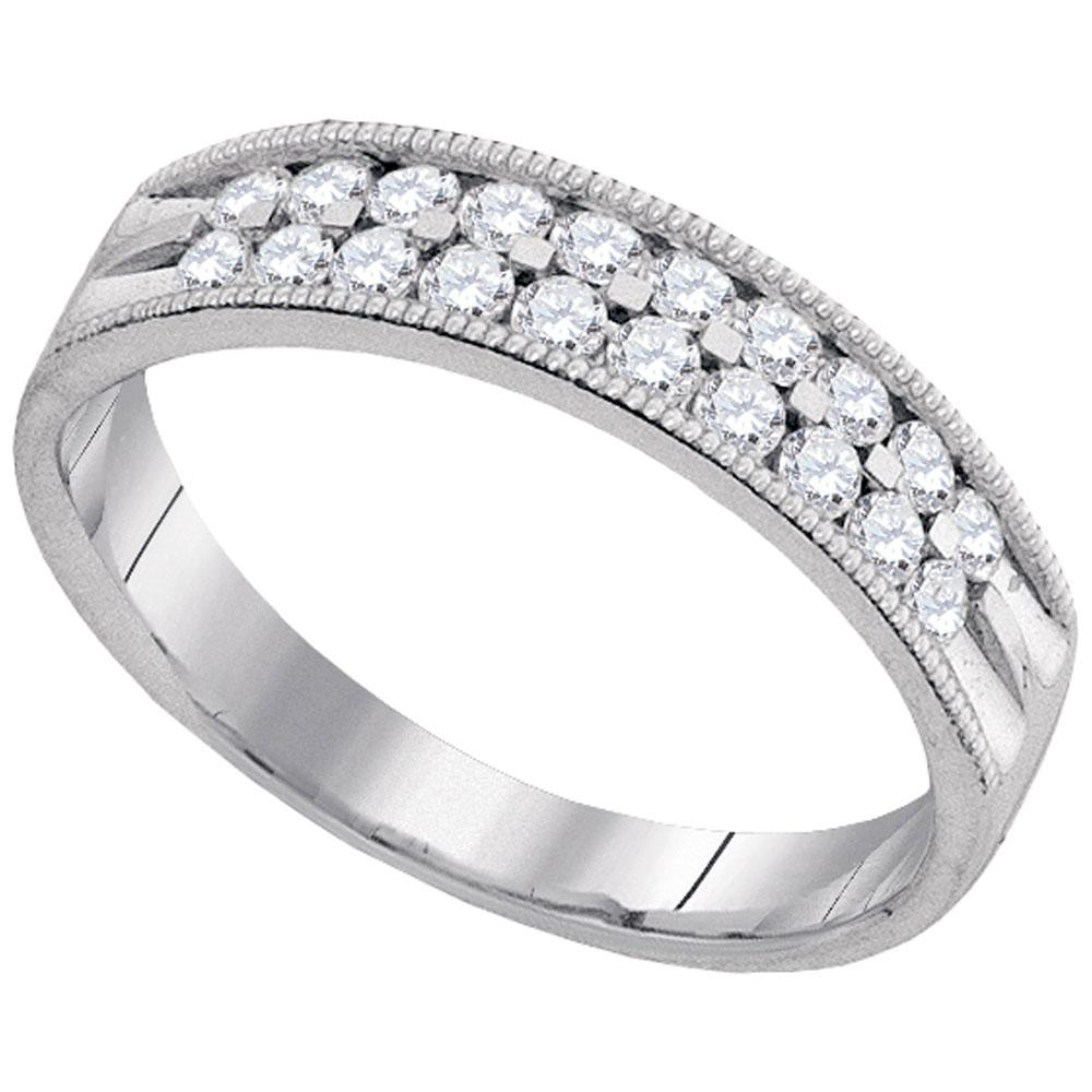 0.53 CTW Diamond Milgrain Ring 10K White Gold - REF-52Y9X