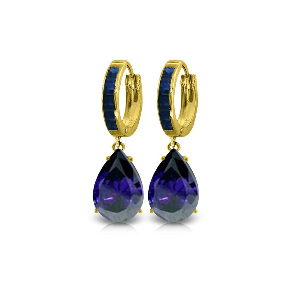 Genuine 10.60 ctw Sapphire Earrings 14KT Yellow Gold - REF-114Z5N