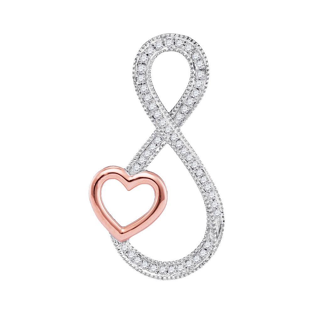 0.15 CTW Diamond Infinity Heart Pendant 10K 2-tone Gold - REF-22F4N