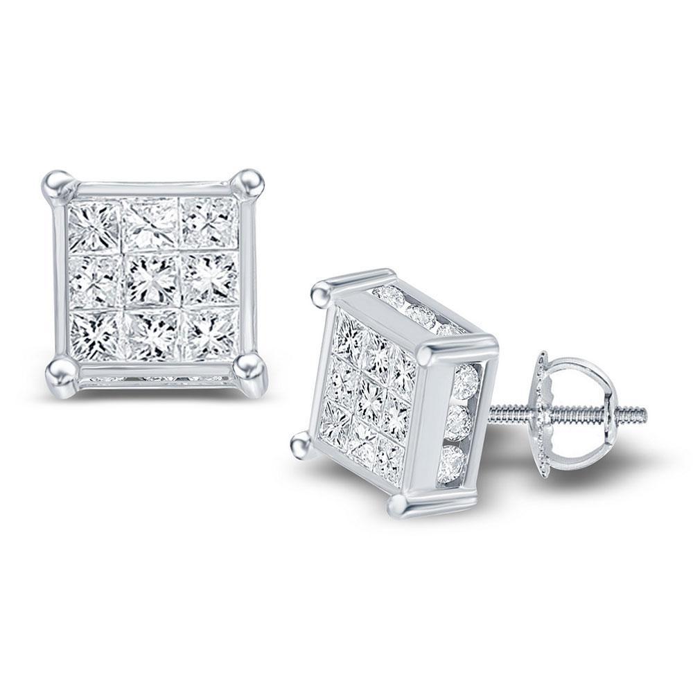 0.93 CTW Diamond Cluster Earrings 14K White Gold - REF-72W2H