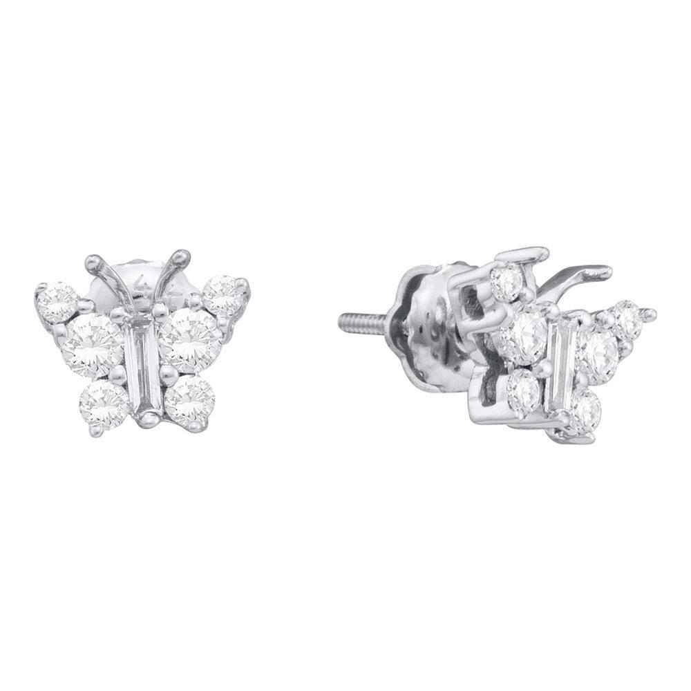 0.50 CTW Diamond Butterfly Earrings 14K White Gold - REF-48V2Y