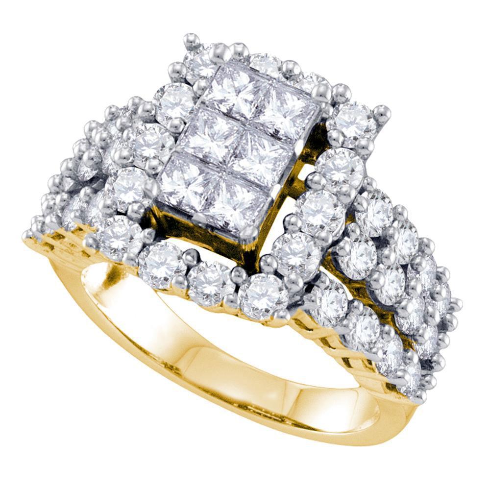 3 CTW Diamond Cluster Ring 14K Yellow Gold - REF-333K5W