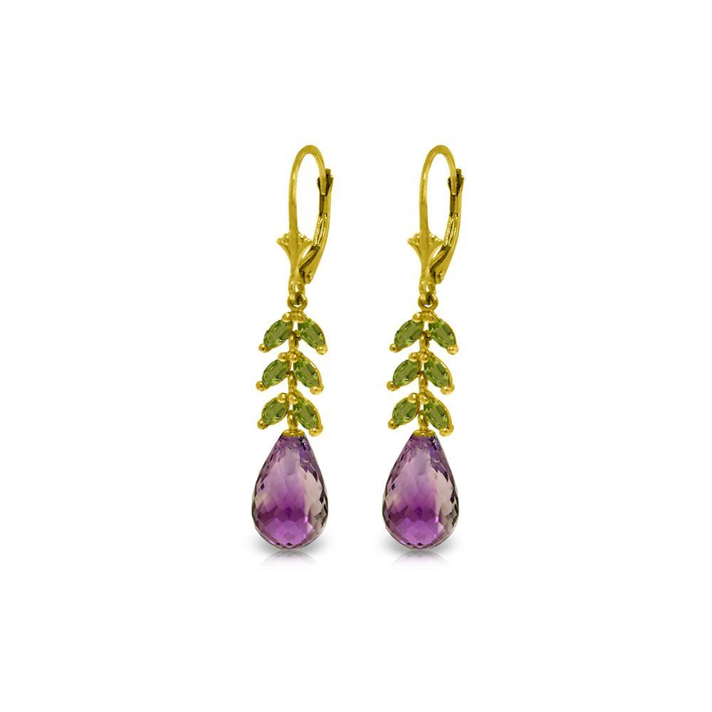 Genuine 11.20 ctw Amethyst & Peridot Earrings 14KT Yellow Gold - REF-56P2H