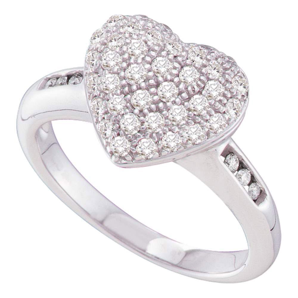 0.50 CTW Diamond Heart Cluster Ring 14K White Gold - REF-48Y2X