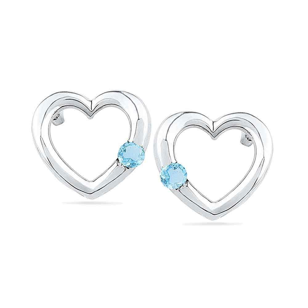 0.12 CTW Lab Blue Topaz Earrings 10K White Gold - REF-13A6V
