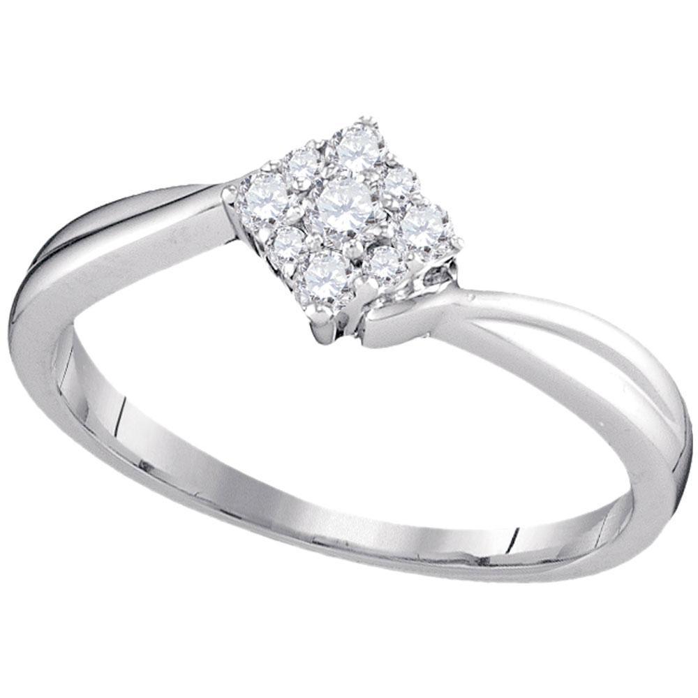 0.20 CTW Diamond Diagonal Square Ring 10K White Gold - REF-24K2W