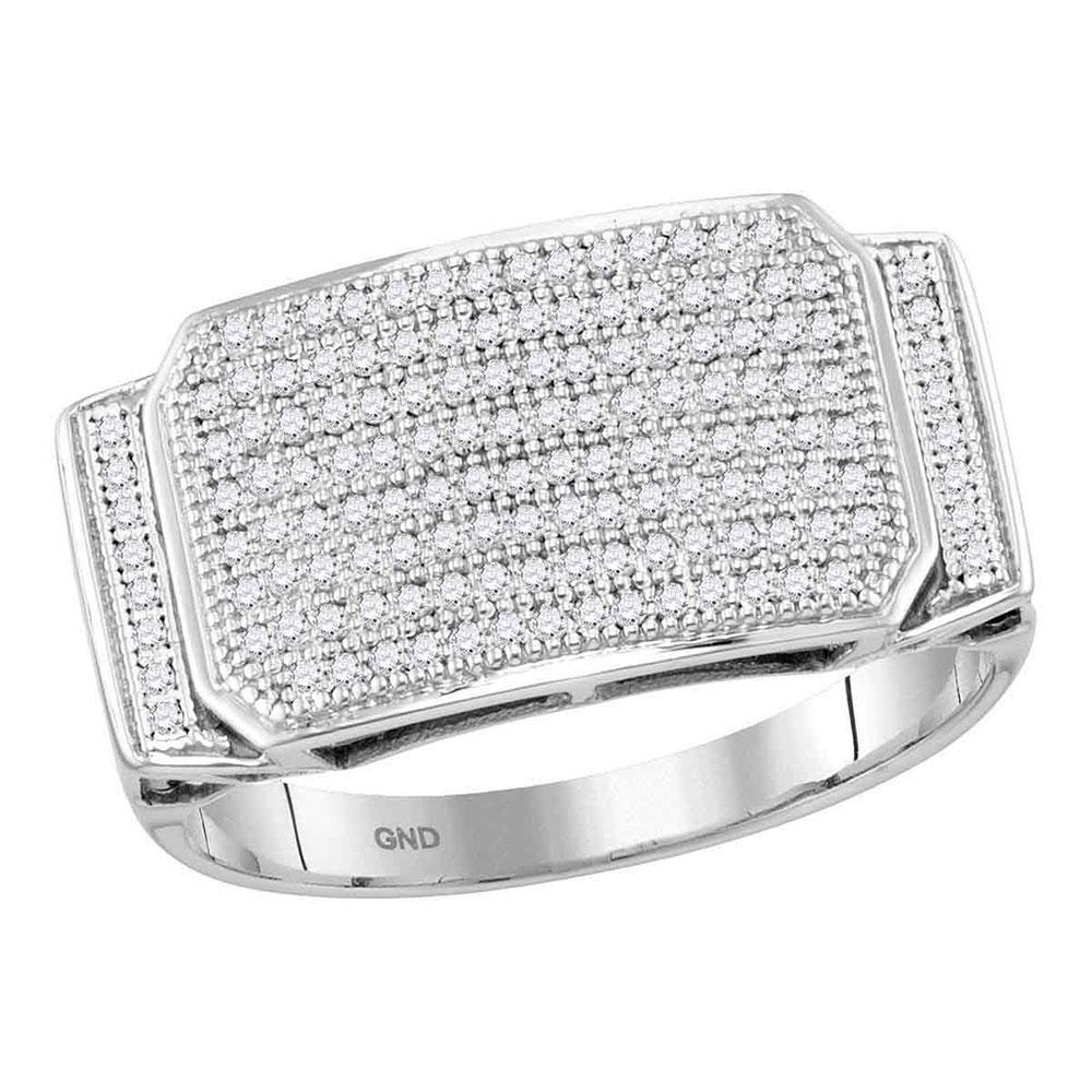 0.50 CTW Diamond Cluster Ring 10K White Gold - REF-49F6N