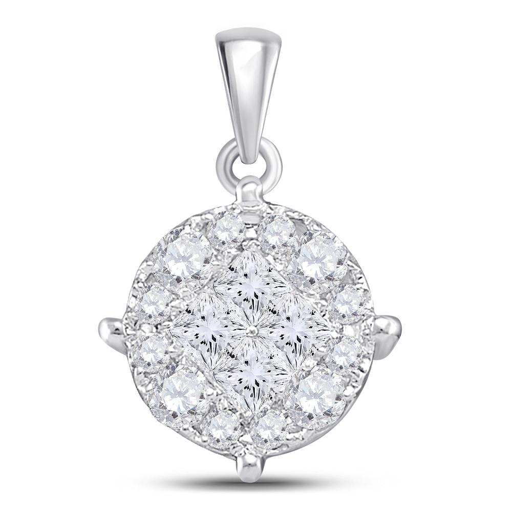 0.50 CTW Diamond Cluster Pendant 14K White Gold - REF-56R3K
