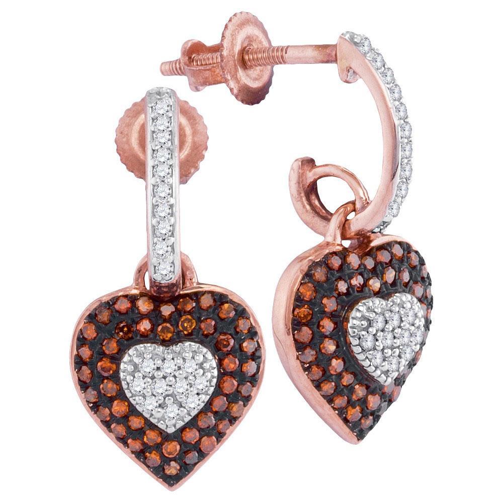 0.34 TCW Red Diamond & White Diamond Heart Dangle Earrings 10K Rose Gold - REF-41V6Y