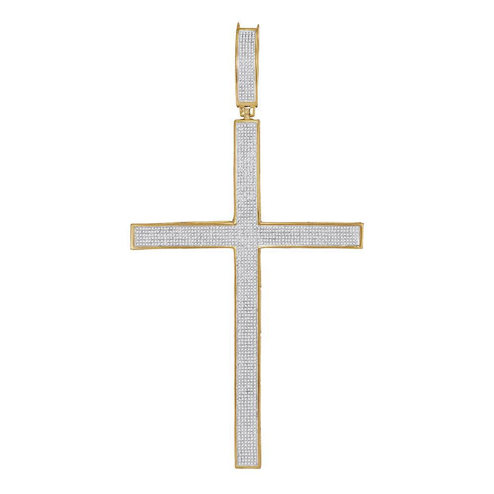 1.97 CTW Diamond Roman Cross Large Pendant 10K Yellow Gold - REF-208Y5X