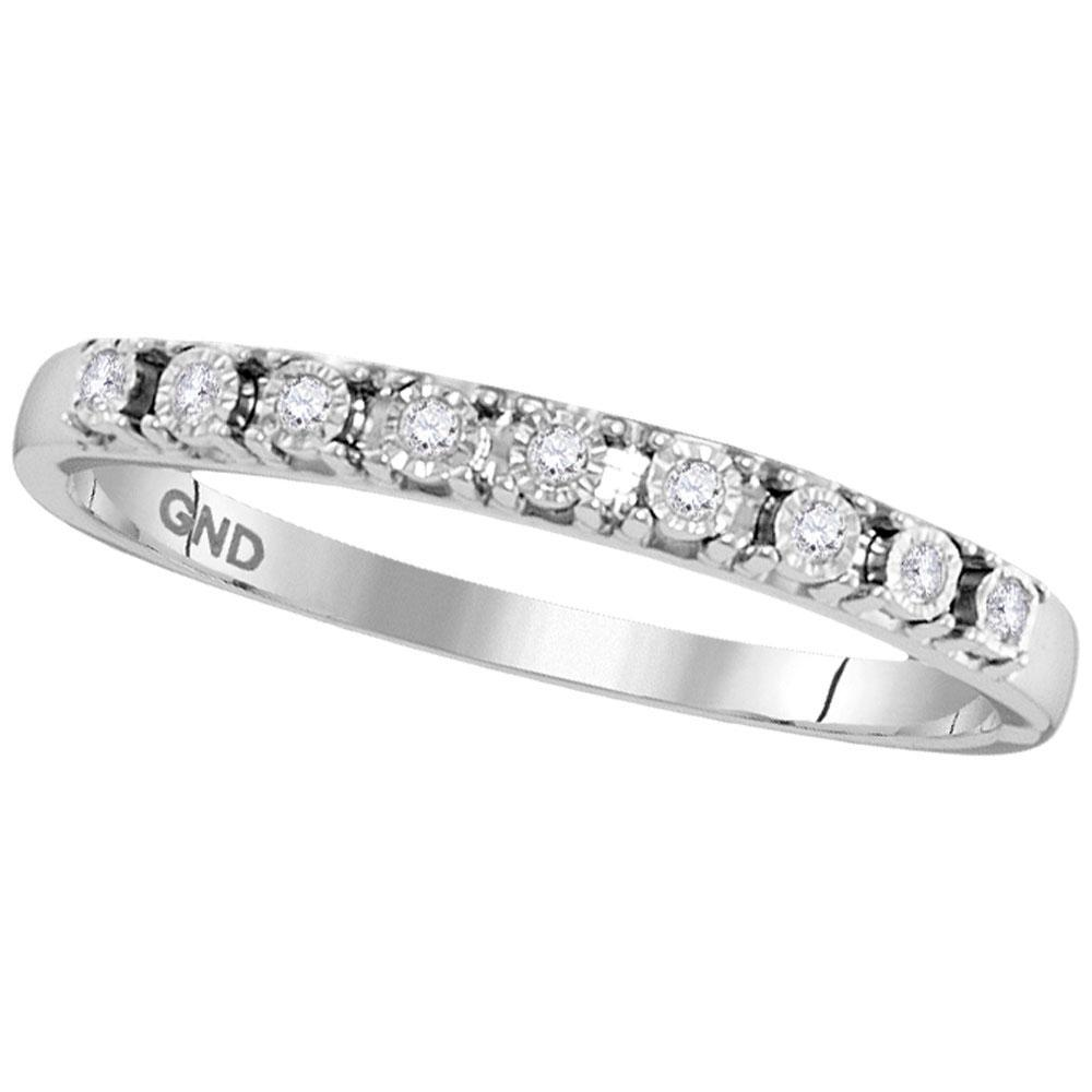 0.06 CTW Diamond Illusion-Set Ring 10K White Gold - REF-12Y8X