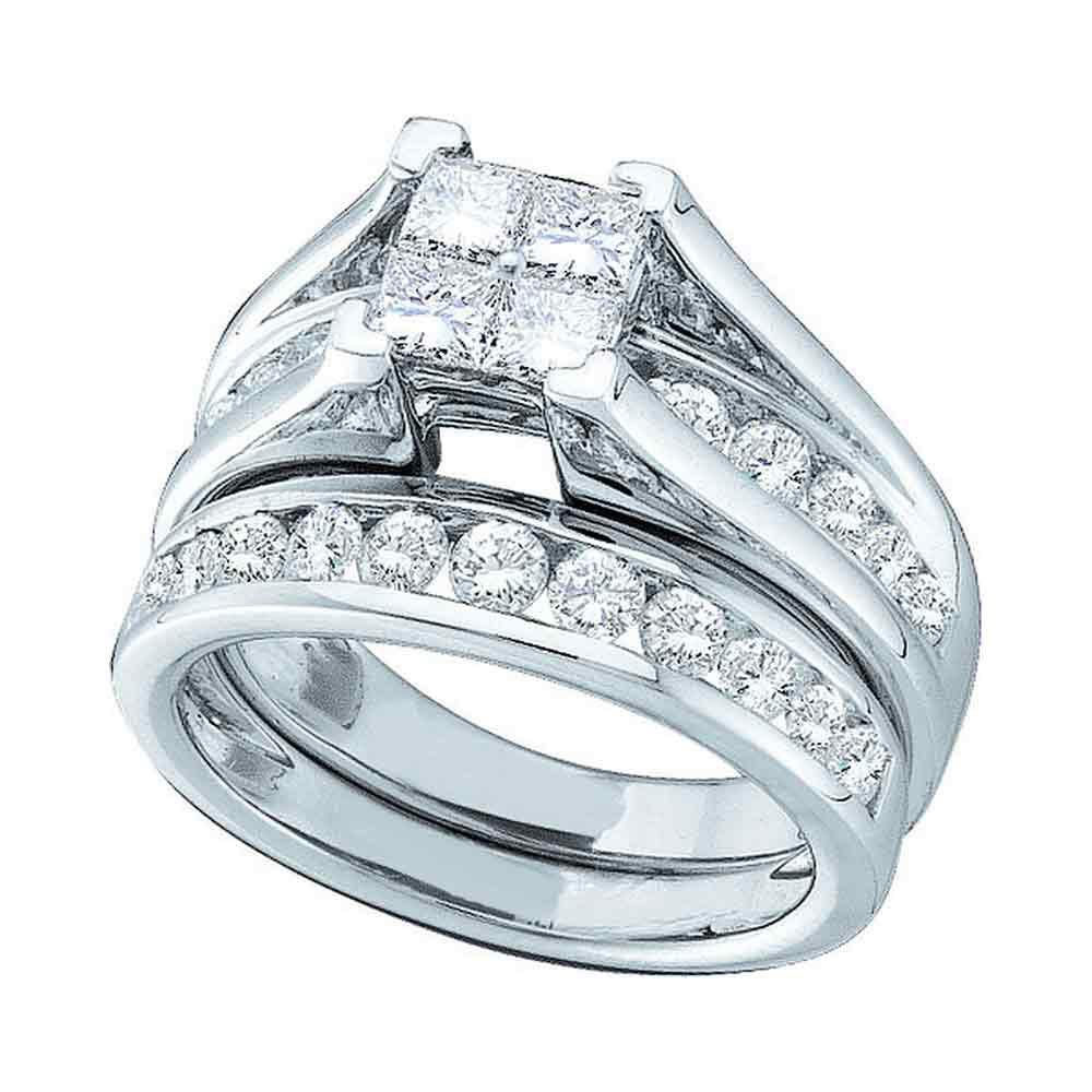 2 CTW Diamond Ring 14K White Gold - REF-224W5H