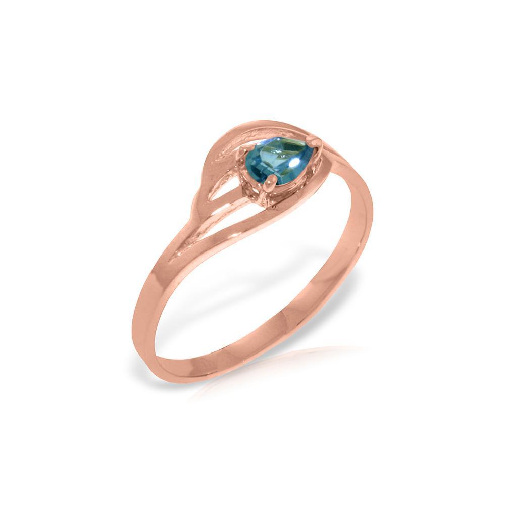 Genuine 0.30 CTW Blue Topaz Ring 14KT Rose Gold - REF-30K5V