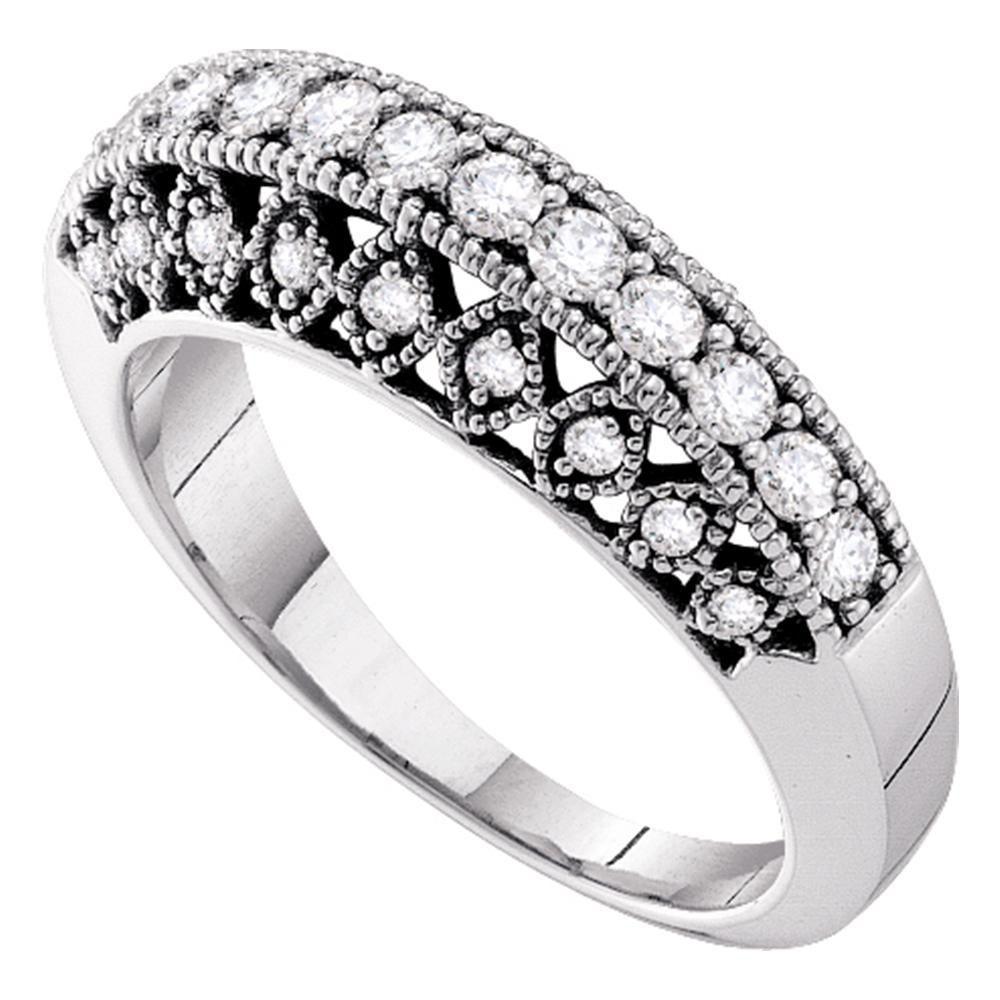 0.54 CTW Diamond Single Row Milgrain Ring 14K White Gold - REF-80F2N