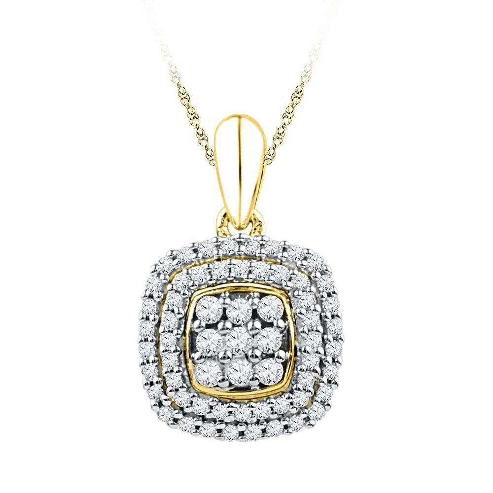 0.33 CTW Diamond Cluster Pendant 10K Yellow Gold - REF-24K2W