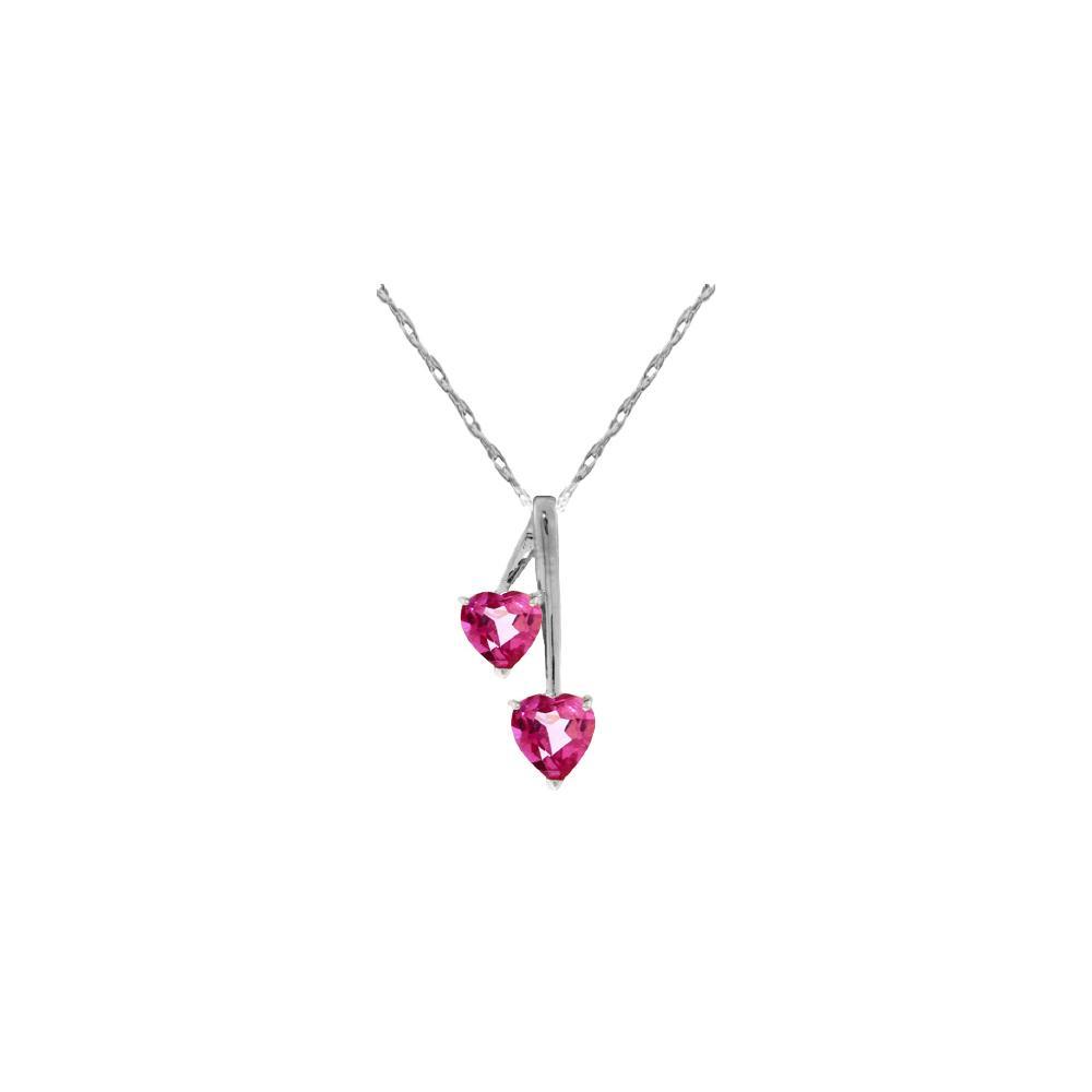 Genuine 1.40 ctw Pink Topaz Necklace 14KT White Gold - REF-24W3Y