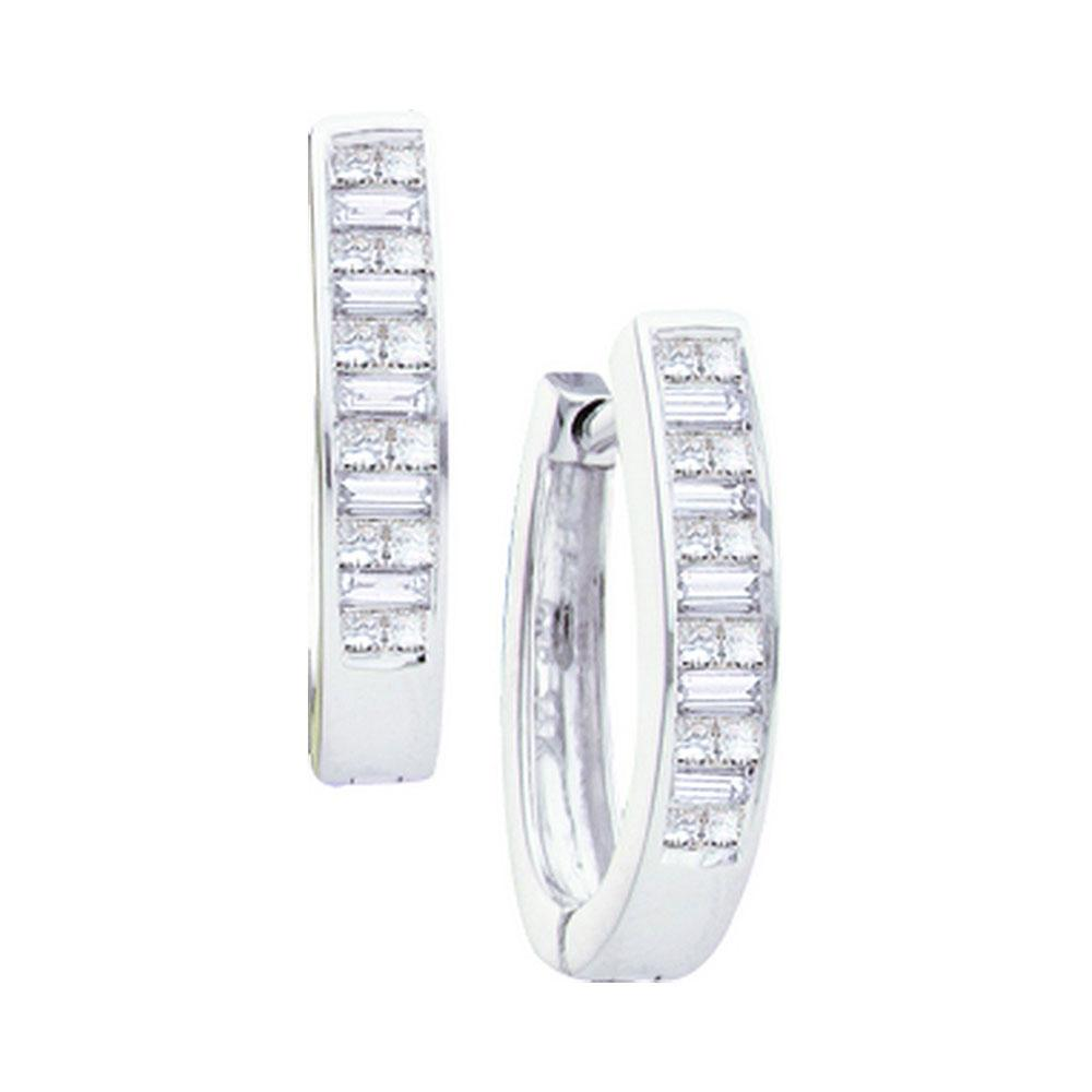 0.50 CTW Diamond Invisible Hoop Earrings 14K White Gold - REF-72N2A