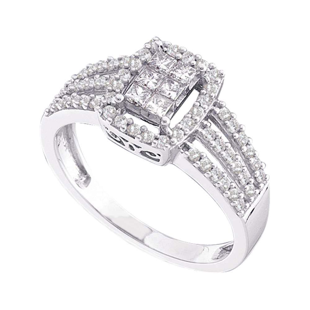 0.50 CTW Diamond Invisible Ring 14K White Gold - REF-61K2W