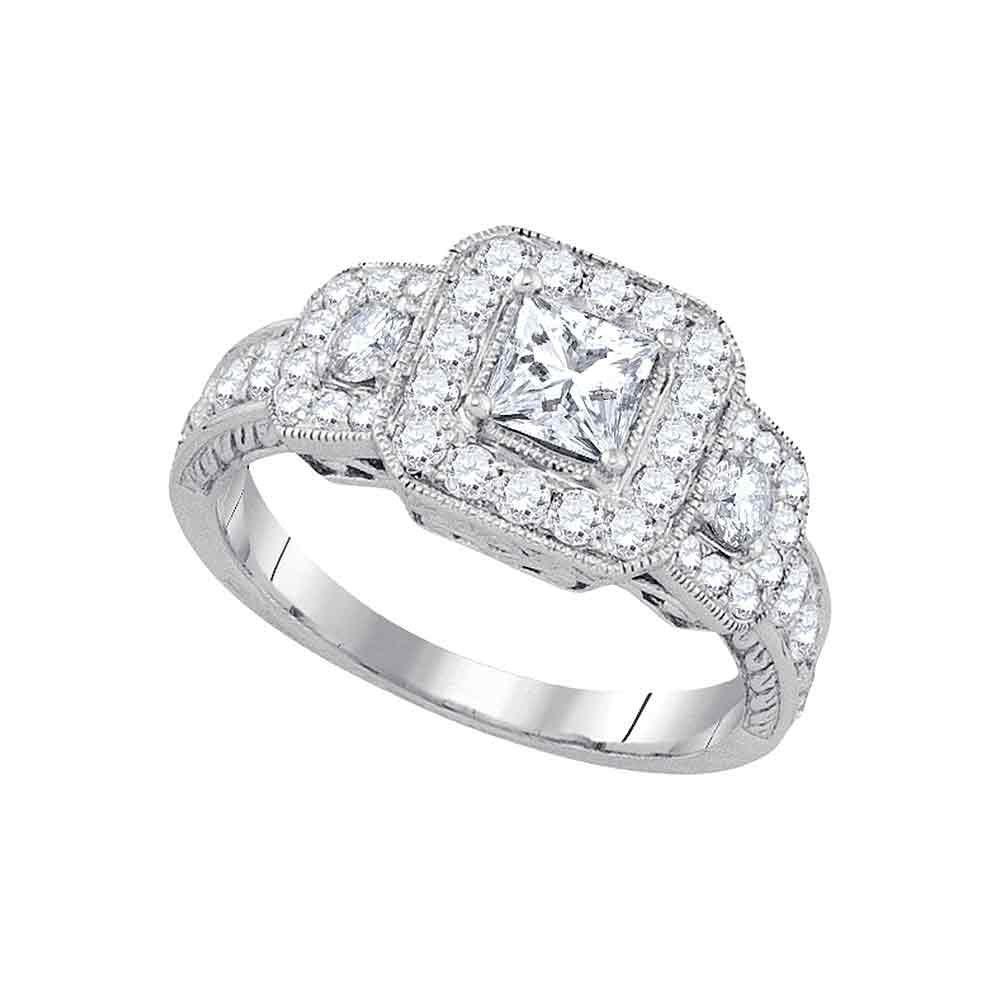 1.5 CTW Diamond 3-Stone Ring 14K White Gold - REF-312K8W