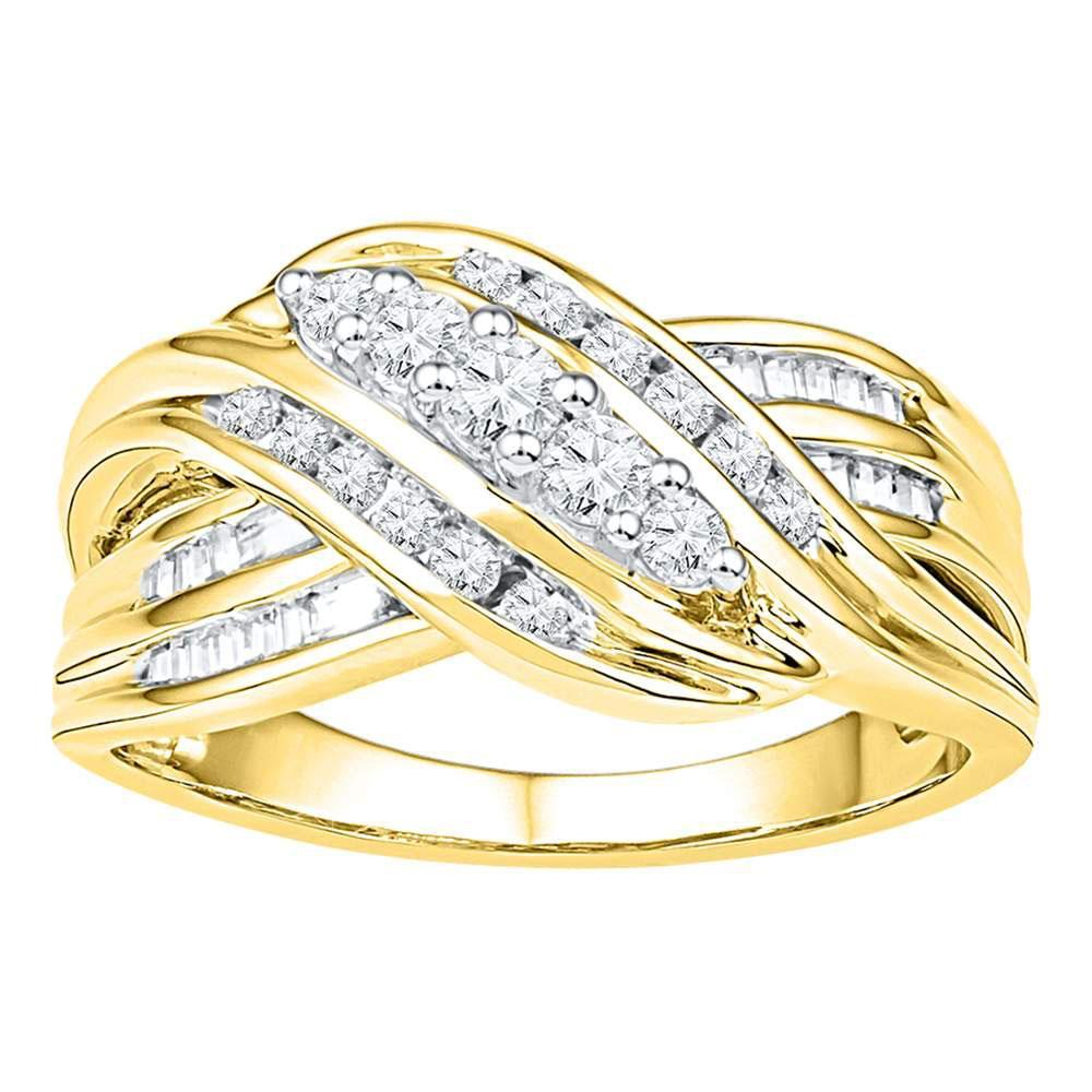 0.50 CTW Diamond Ring 10K Yellow Gold - REF-52K9W