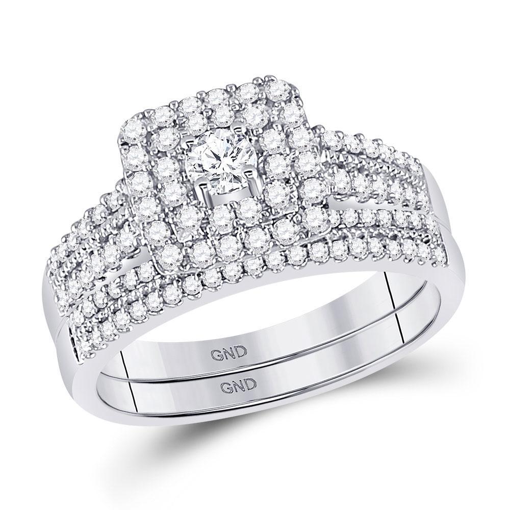 0.74 CTW Diamond Halo Ring 14K White Gold - REF-100F4N