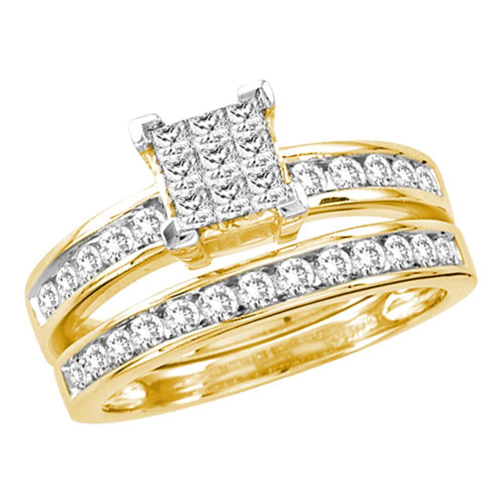 1 CTW Diamond Cluster Ring 14K Yellow Gold - REF-120X3R
