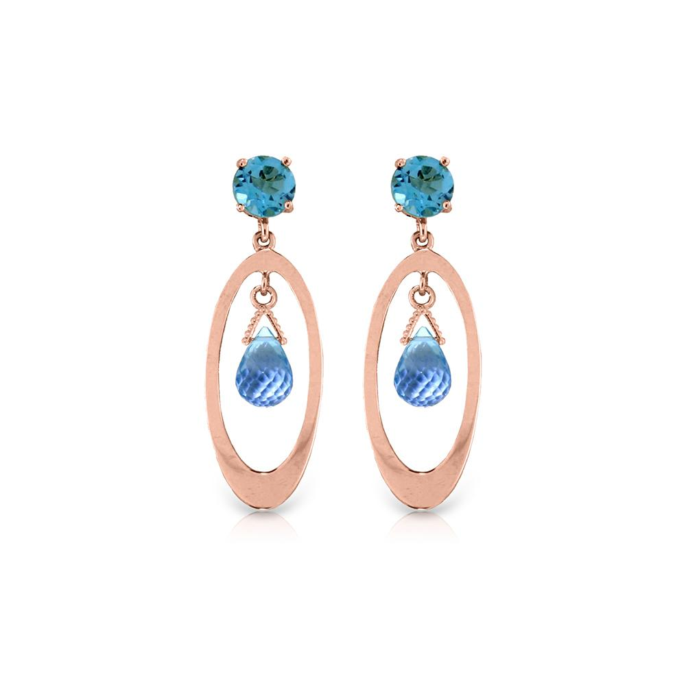 Genuine 2.4 ctw Blue Topaz Earrings 14KT Rose Gold - REF-39H3X