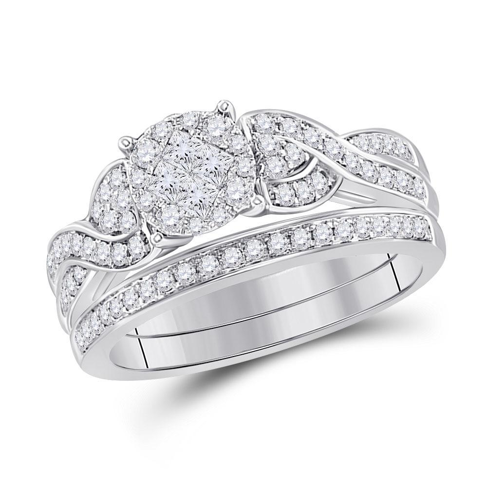 0.67 CTW Diamond Ring 14K White Gold - REF-104V2Y