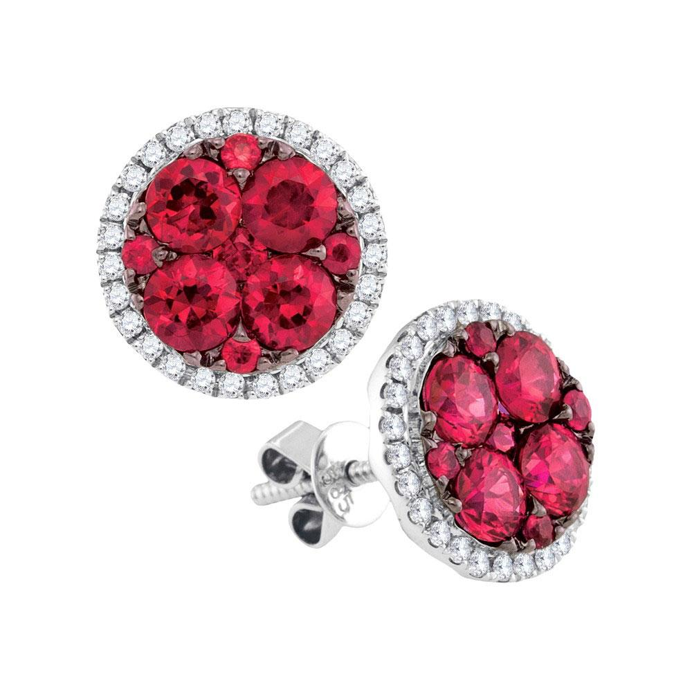 2.2 TCW Natural Ruby & White Diamond Earrings 14K White Gold - REF-216X5R