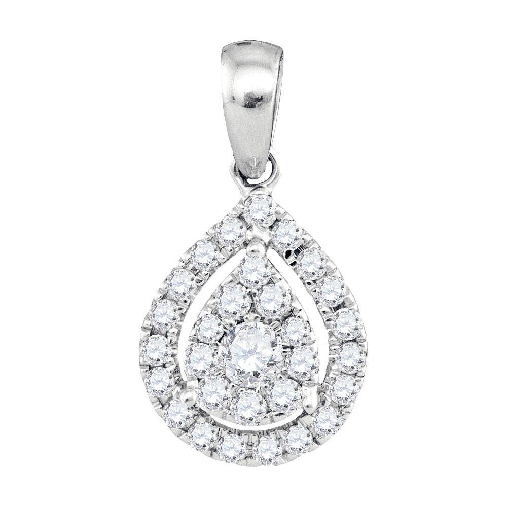 0.36 CTW Diamond Teardrop Pendant 14K White Gold - REF-40X3R