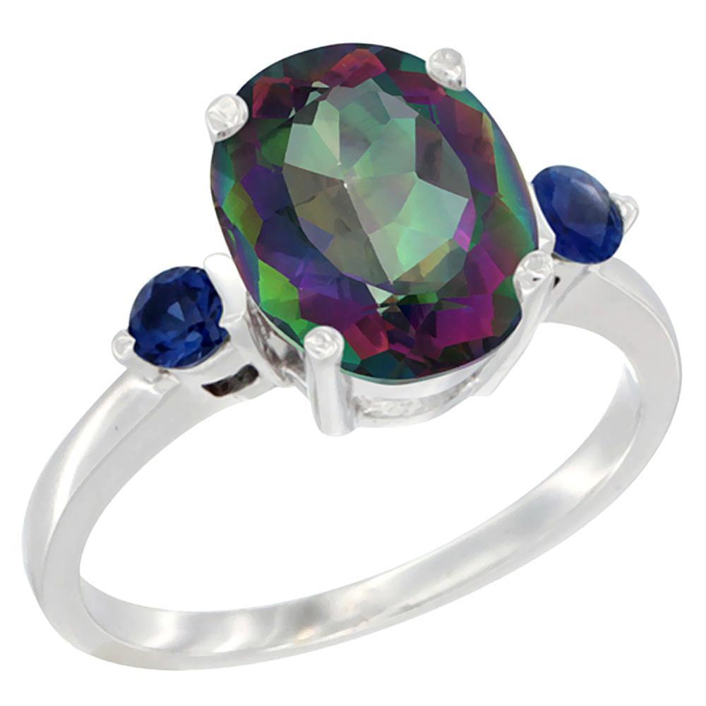 2.64 CTW Mystic Topaz & Blue Sapphire Ring 14K White Gold - REF-32A3X