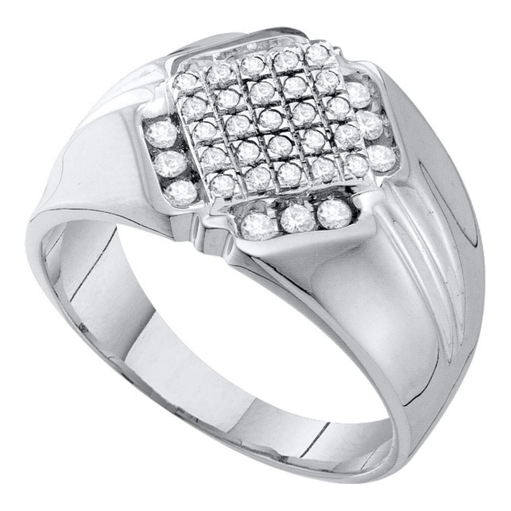0.50 CTW Diamond Diagonal Square Ring 10K White Gold - REF-36M8F