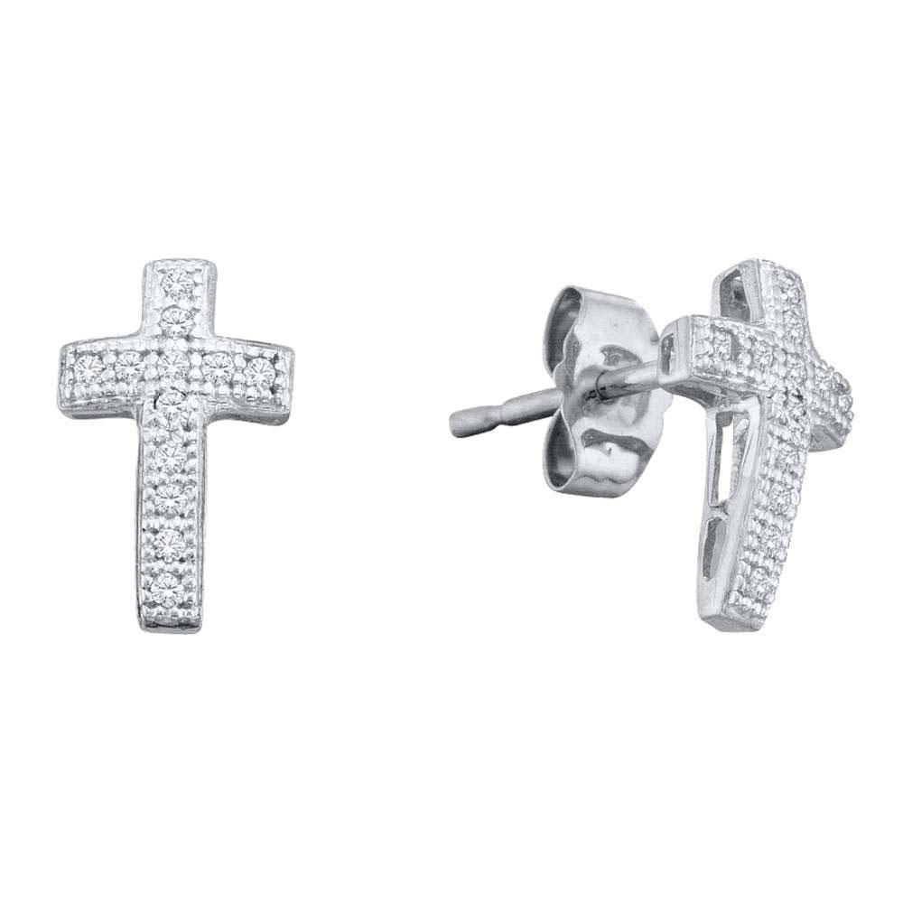 0.10 CTW Diamond Cross Earrings 10K White Gold - REF-11H2M