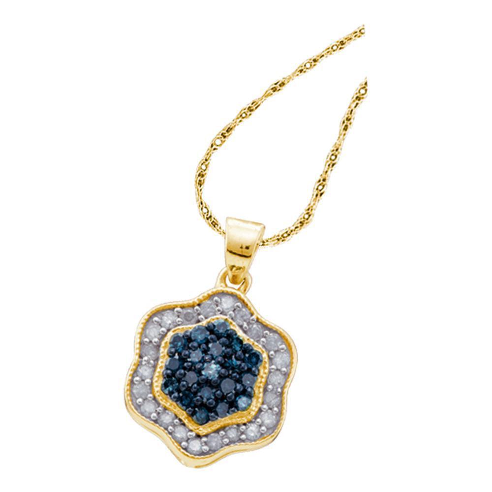 0.50 TCW Blue Diamond & White Diamond Hexagon Cluster Pendant 10K Yellow Gold - REF-27Y2X