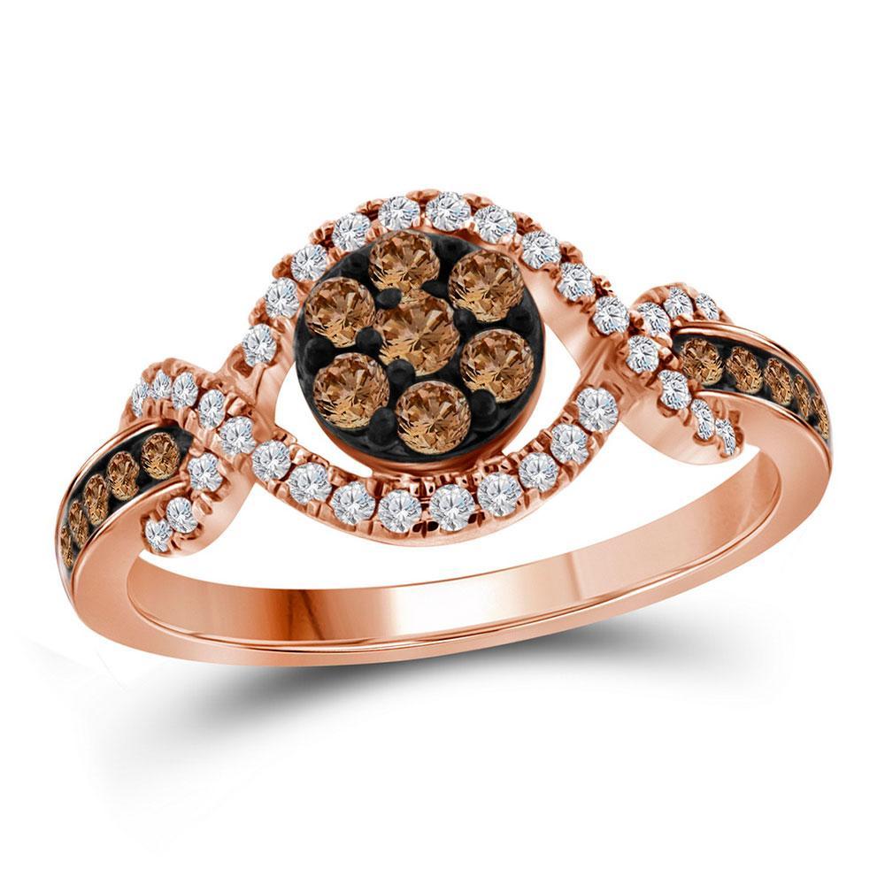 0.50 TCW Brown Diamond & White Diamond Flower Ring 10K Rose Gold - REF-56K3W