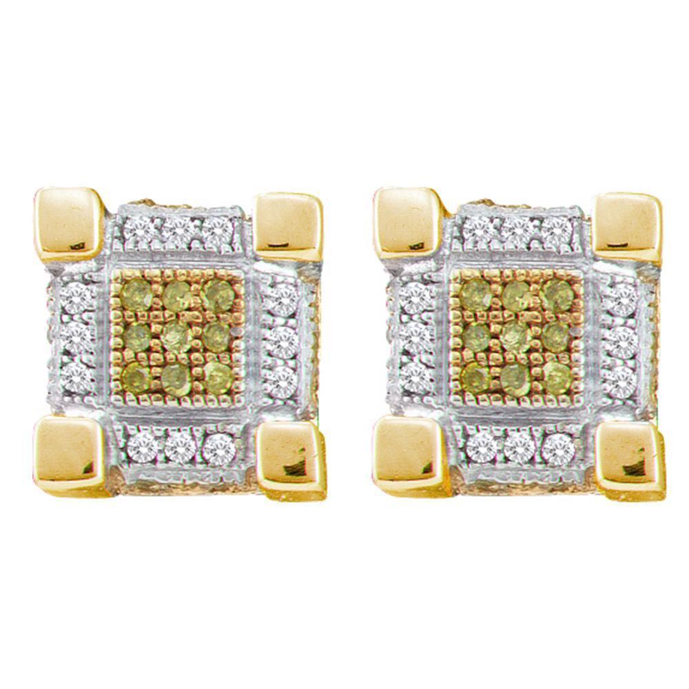 0.29 TCW Yellow Diamond & White Diamond Cube Earrings 10K Yellow Gold - REF-28A8V