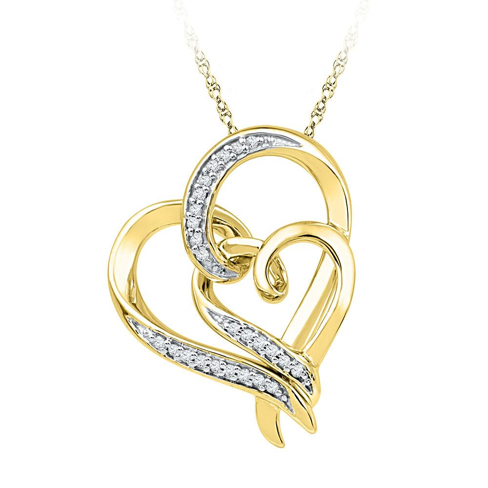 0.10 CTW Diamond Heart Pendant 10K Yellow Gold - REF-20V7Y