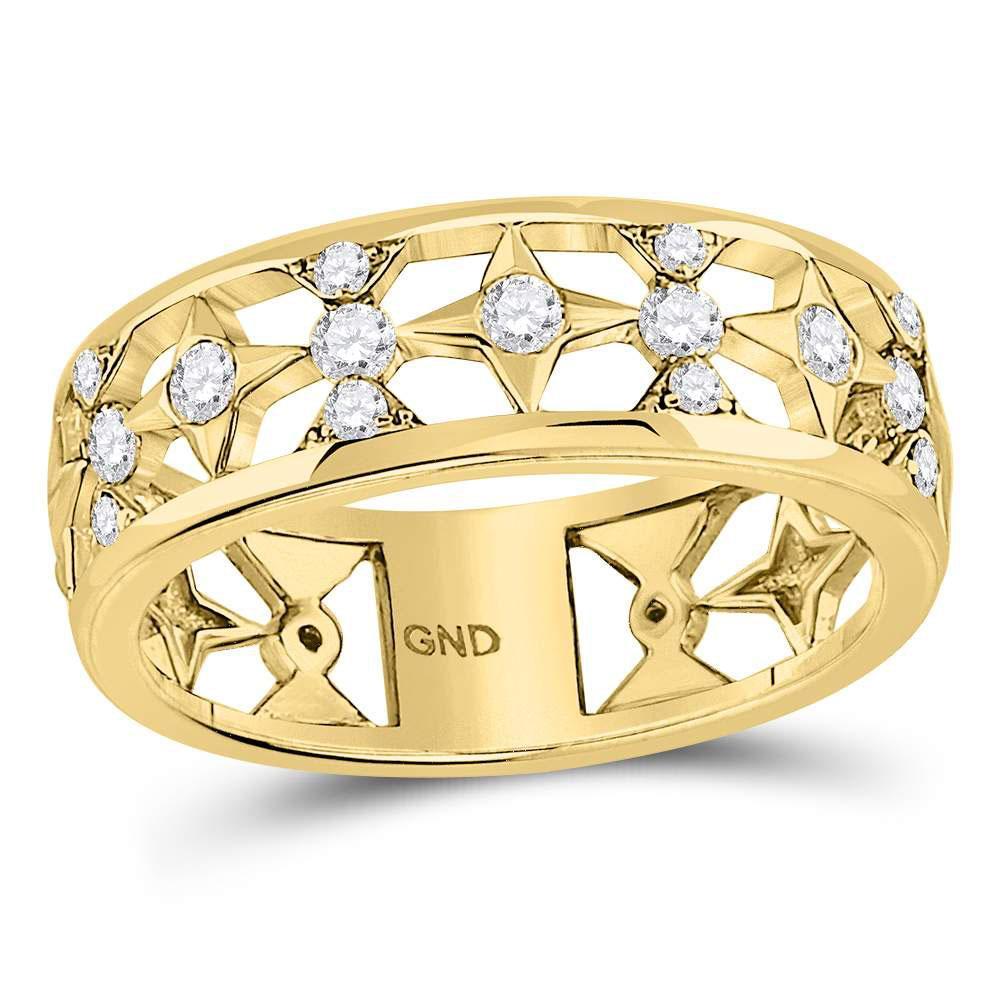 0.30 CTW Diamond Star Ring 14K Yellow Gold - REF-48V2Y