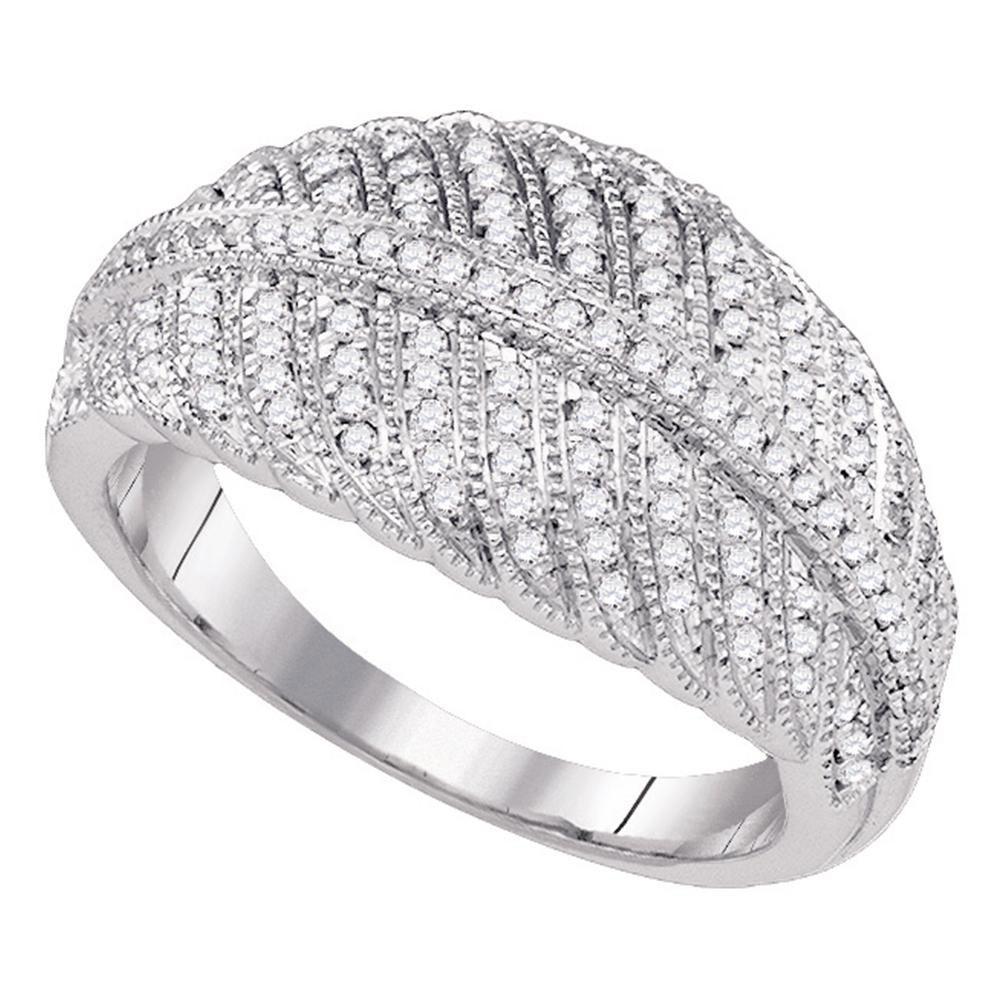 0.40 CTW Diamond Striped Ring 10K White Gold - REF-40M3F