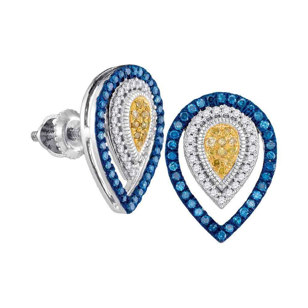 0.33 TCW Multi-Diamond Teardrop Earrings 10K White Gold - REF-35A2V