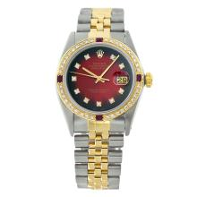 Rolex Pre-owned 36mm Mens Red Vignette Two Tone