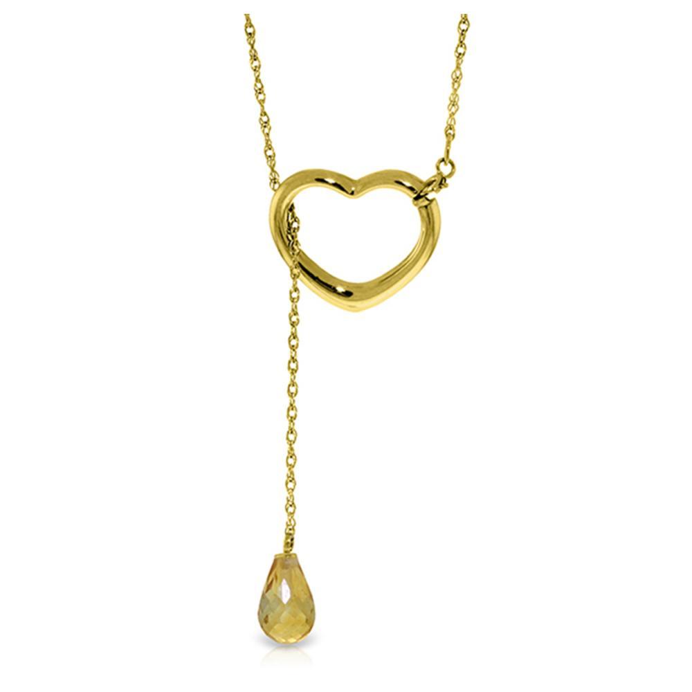 Genuine 2.25 ctw Citrine Necklace Jewelry 14KT Yellow Gold - REF-32F9Z