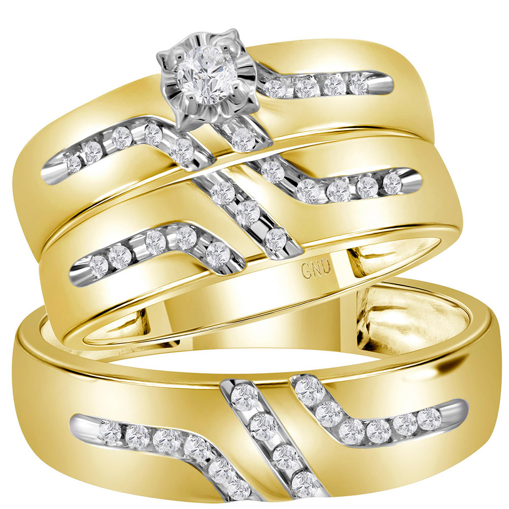 0.25 CTW His & Hers Diamond Solitaire Matching Bridal Ring 14KT Yellow Gold - REF-57H2M